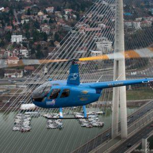 Helicopter flying over Belgrade